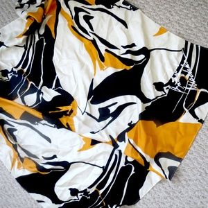 BADGLEY MISCHKA 100% SILK SCARF ORANGE BLACK WHITE